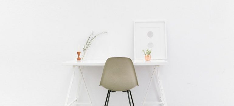 A desk and a chair.
