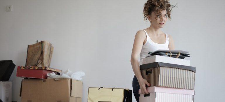a woman decluttering