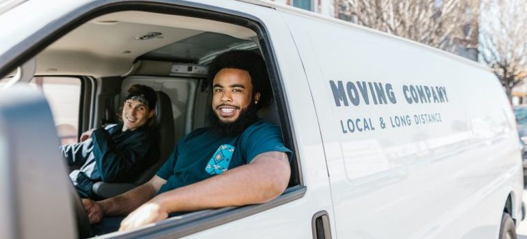 Movers inside a van can help moving to Potomac