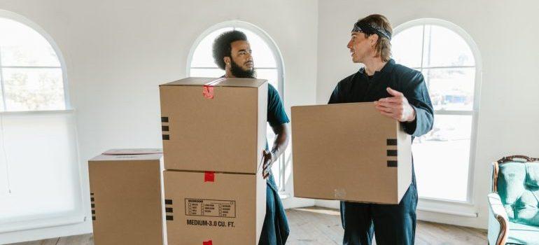 Potomac MD movers carrying boxes
