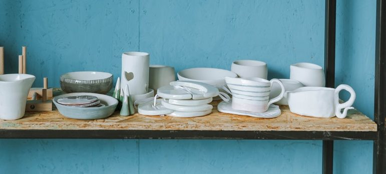 ceramics and pottery and the shelf