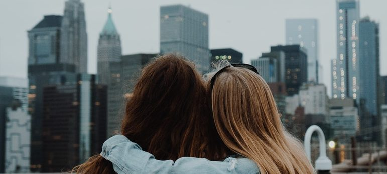 Two friends staring at the NYC
