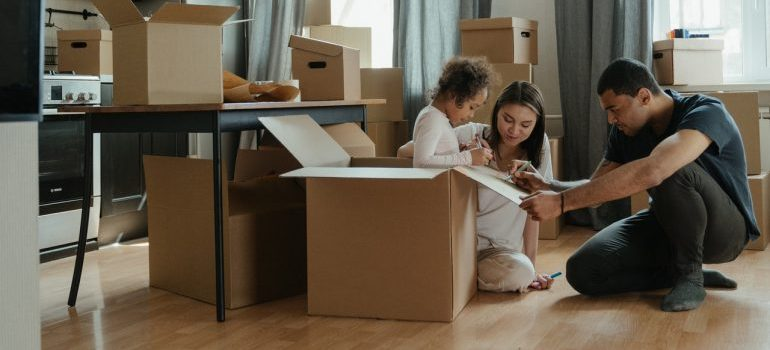 A family preparing to move together.