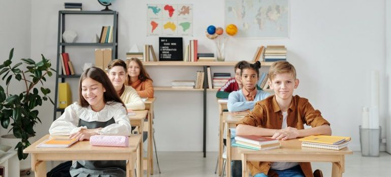 Children in classroom after moving to North Potomac