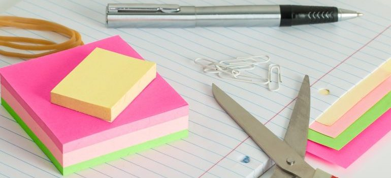 scissors and sticky notes for labeling