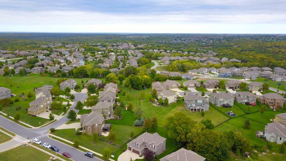 an aerial view of a suburban neighborhood